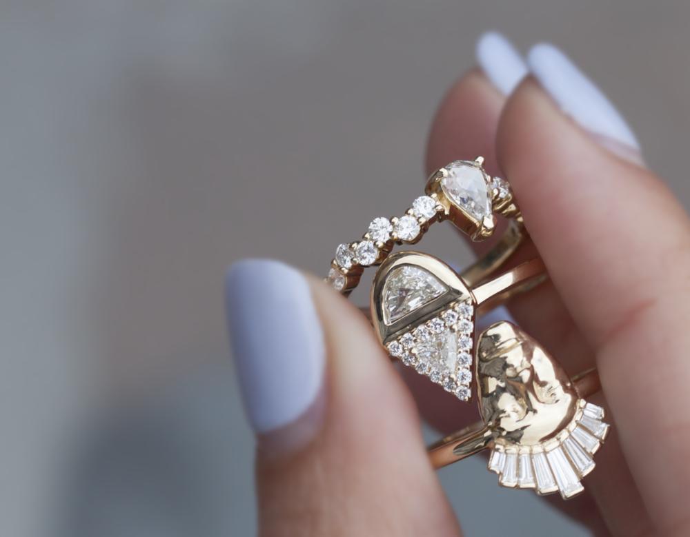 Anastassia Sel Jewelry - Rose Cut Diamond - Half Moon Diamond Ring