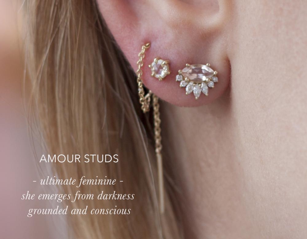 Rose Cut Diamond Threaders - Anastassia Sel Jewelry