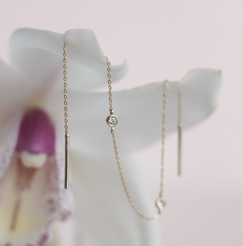 Tiny, shiny and gold stud stitch with a rose cut diamond and solid 14K gold. Gold bar earrings .png