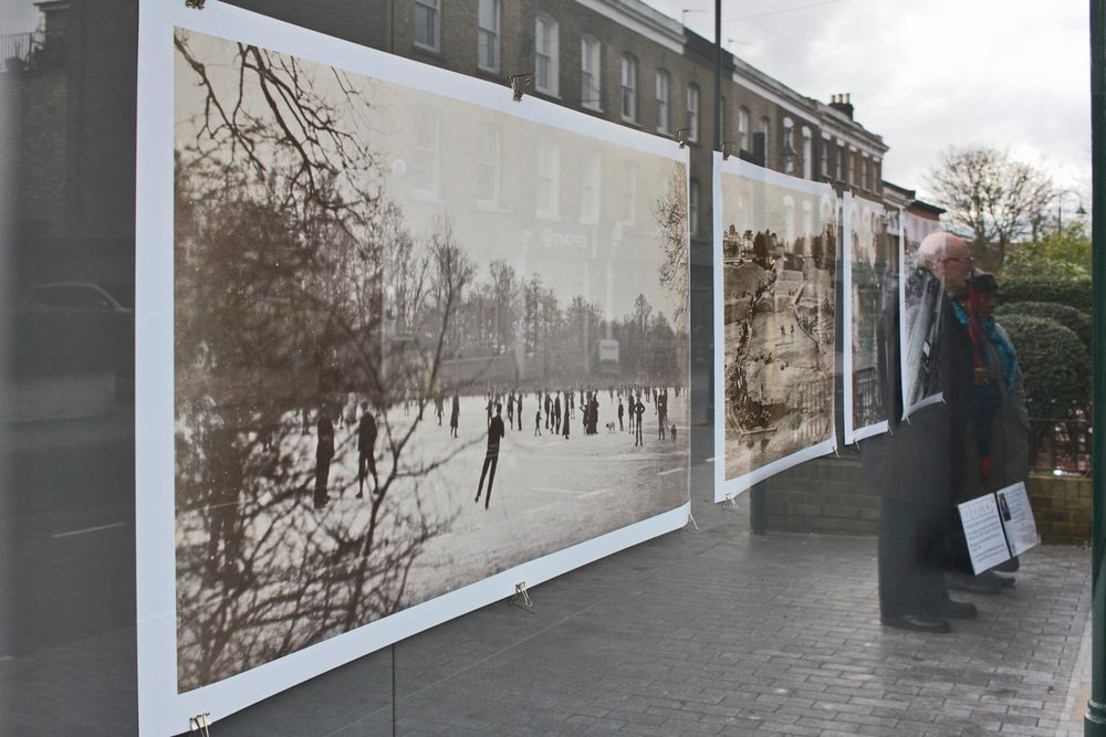 Large reproductions of vintage photographs from the Vestry House Museum's vast archive
