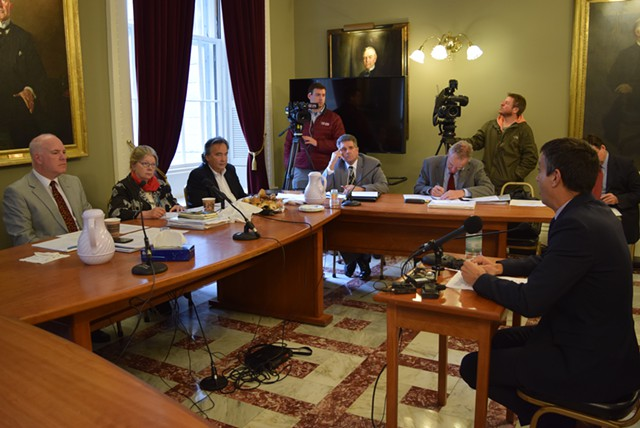 VT Senate Gov't Ops Committee hears from Bill Lofy representing VTCC - pic via Terri Hallenbeck & Seven Days