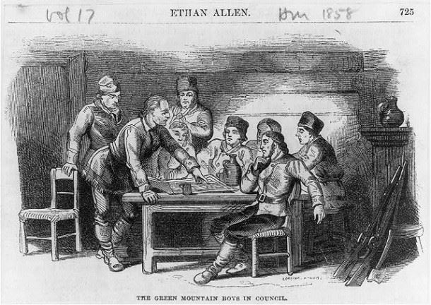 Ethan Allen & The Green Mountain Boys in Council    via Wikipedia
