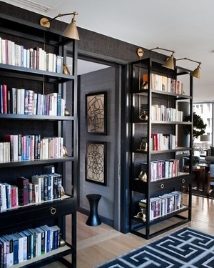 Bookshelves and using texture for luxury interior design
