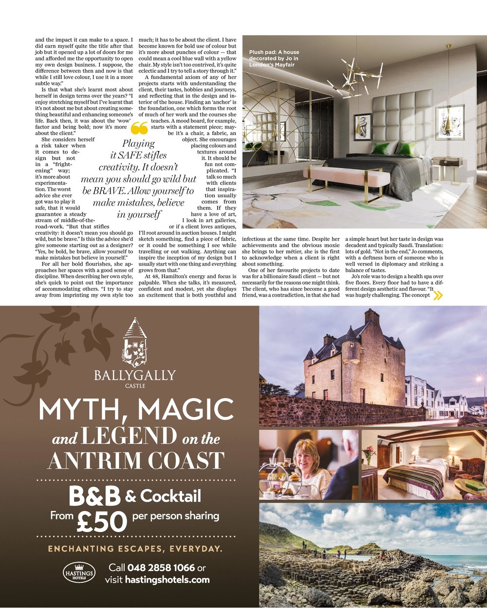 High-end London interior designer Jo Hamilton Irish Independent Weekend page three