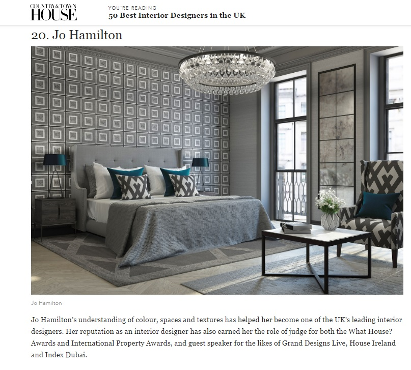 Luxury interior designer Jo Hamilton features in Country & Town House magazine's '50 best interior designers' list
