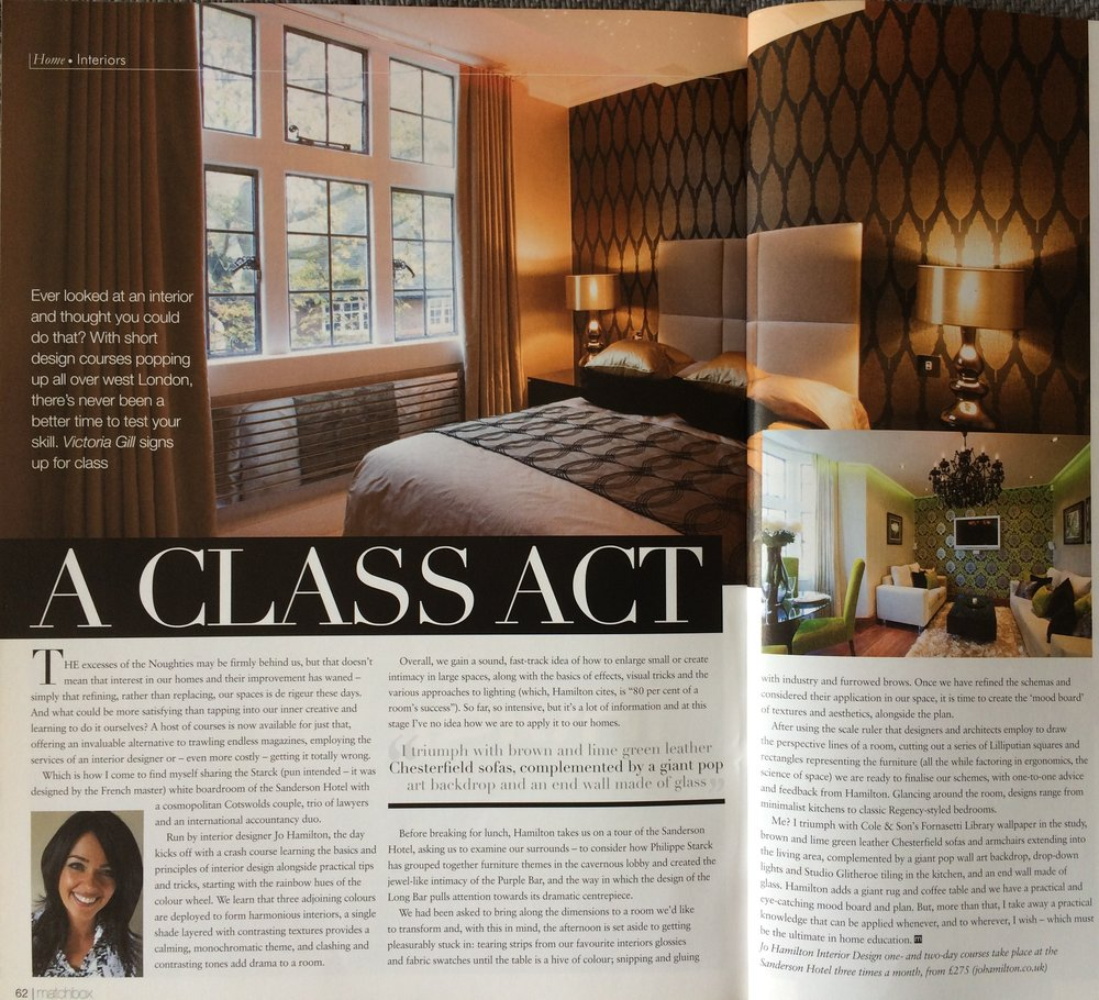 Luxury interior designer Jo Hamilton feature in Matchbox magazine. High-end London interior designer Jo Hamilton interview