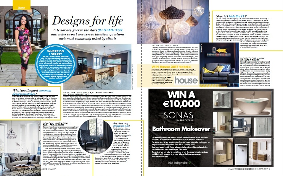 Luxury Interior Designer Jo Hamilton In Irish Independent Weekend Magazine May 6 2017
