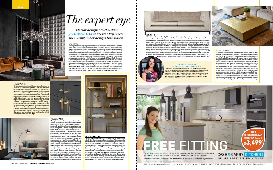 Luxury interior designer Jo Hamilton in Irish Independent Weekend magazine May 20 2017