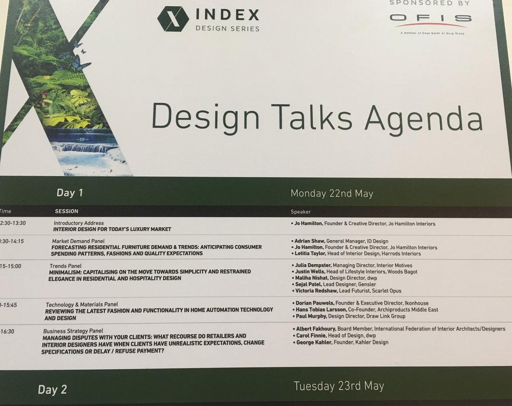 Index Dubai line-up featuring high-end interior designer Jo Hamilton
