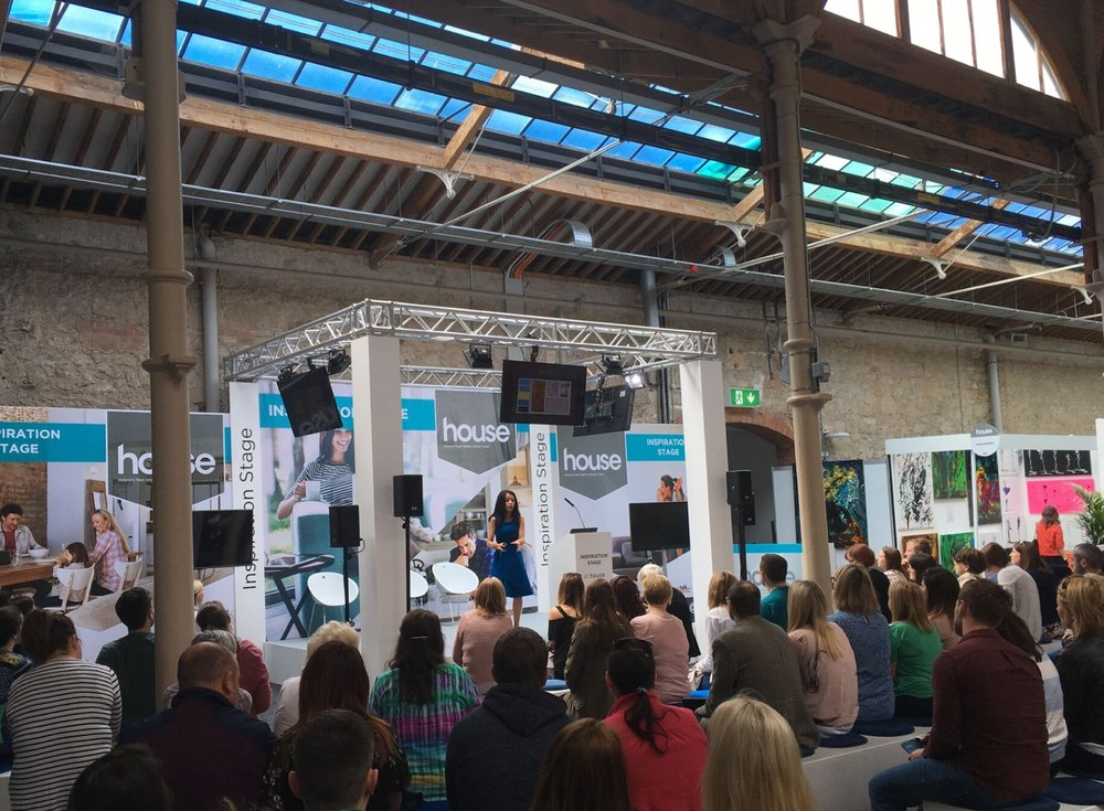 High-end interior designer Jo Hamilton on stage at House Ireland
