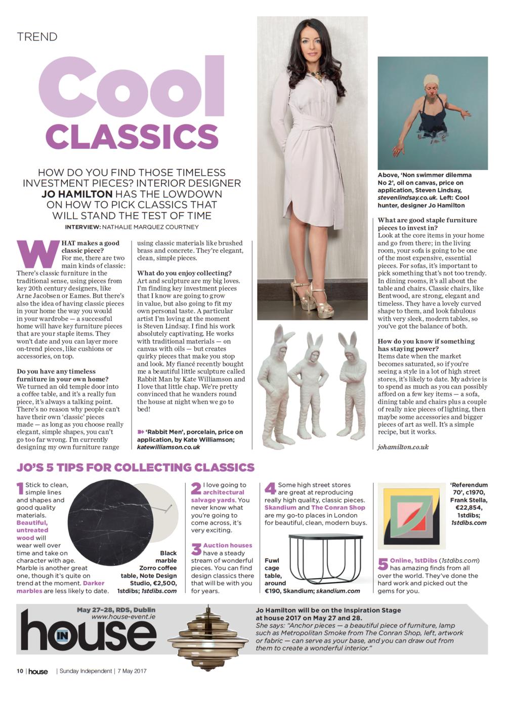 Luxury interior designer Jo Hamilton in Irish Sunday Independent May 2017.jpg
