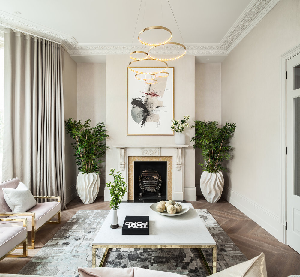 Jo Hamilton Interiors - Observatory Gardens, Kensington, lounge and fireplace