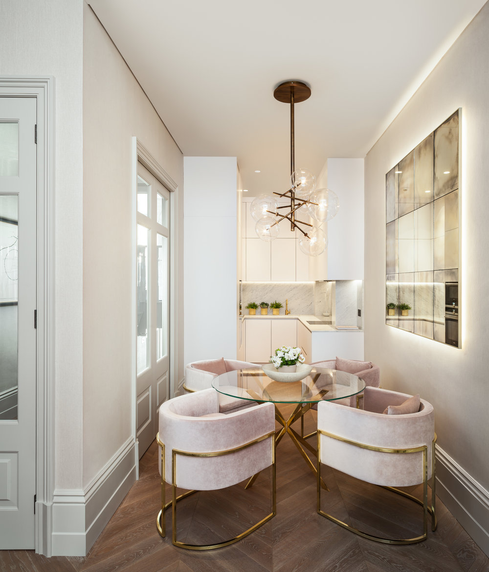 Jo Hamilton Interiors - Observatory Gardens, Kensington, kitchen and dining area