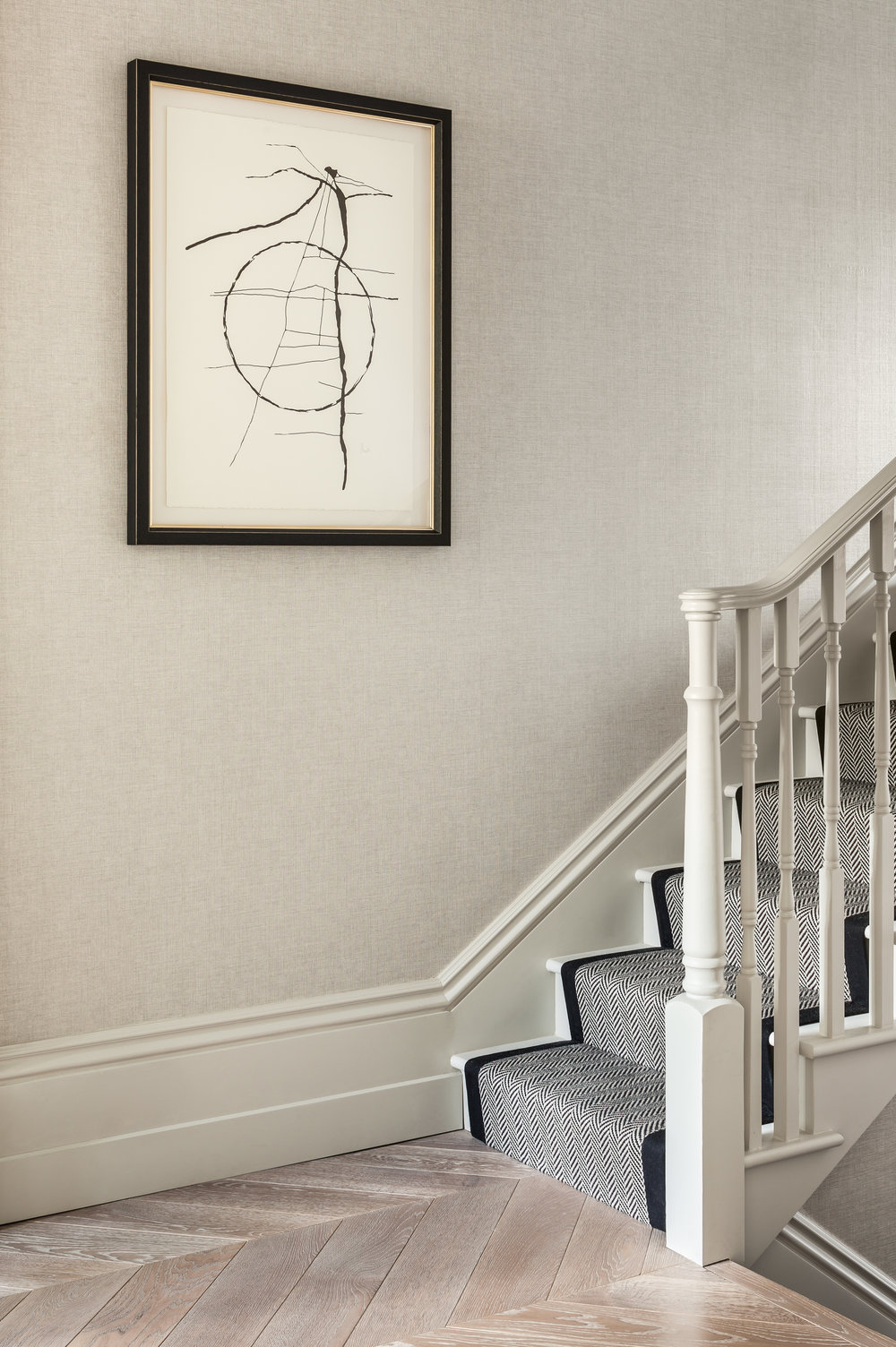 Jo Hamilton Interiors - Kensington stairs featuring art by Jo Hamilton