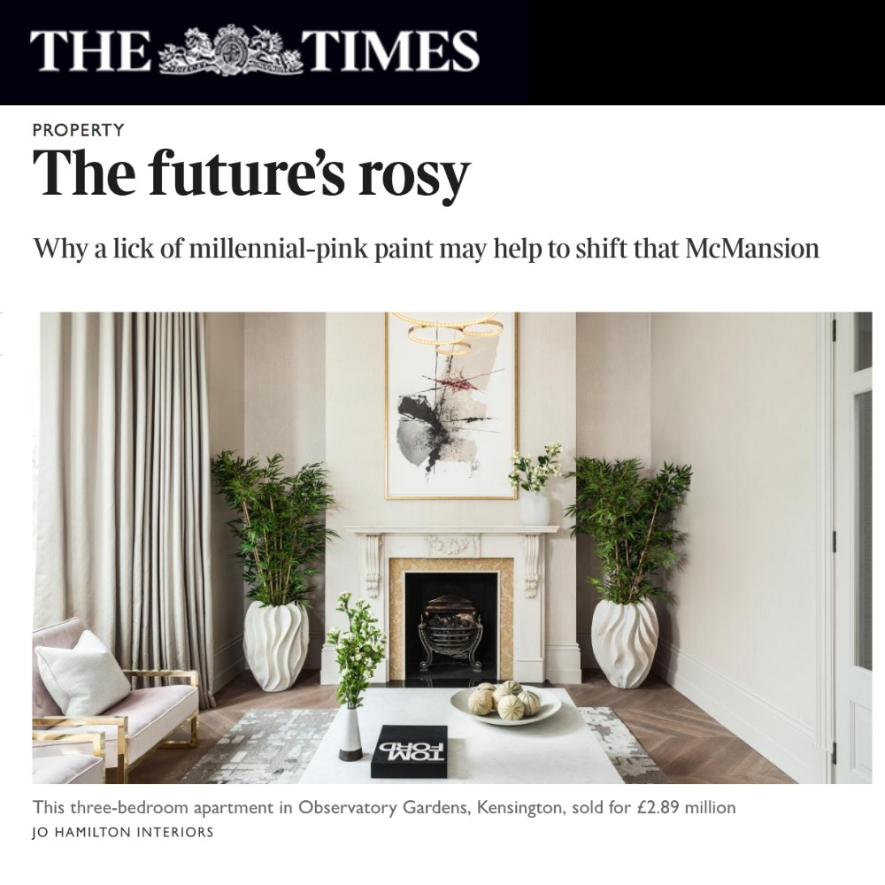 Luxury interior designer Jo Hamilton in The Times magazine Luxx