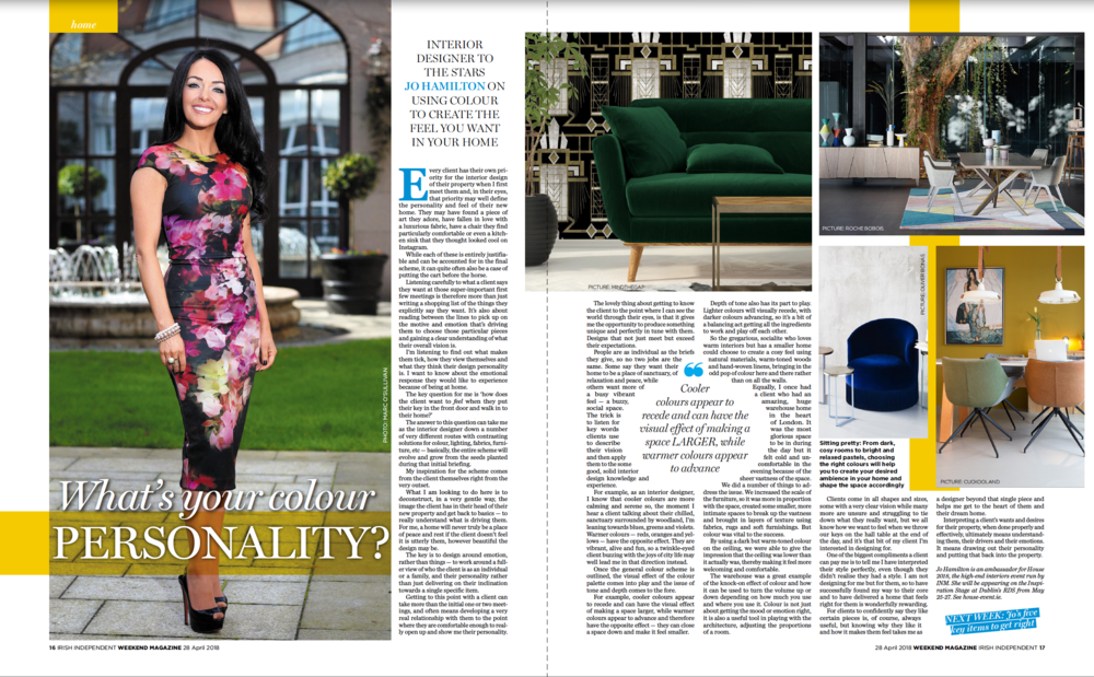 Luxury interior designer Jo Hamilton in Irish Independent Weekend April 28 2018