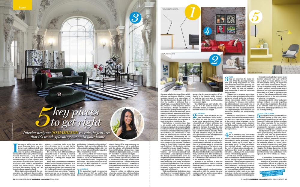 Luxury interior designer Jo Hamilton in Irish Independent Weekend May 5 2018