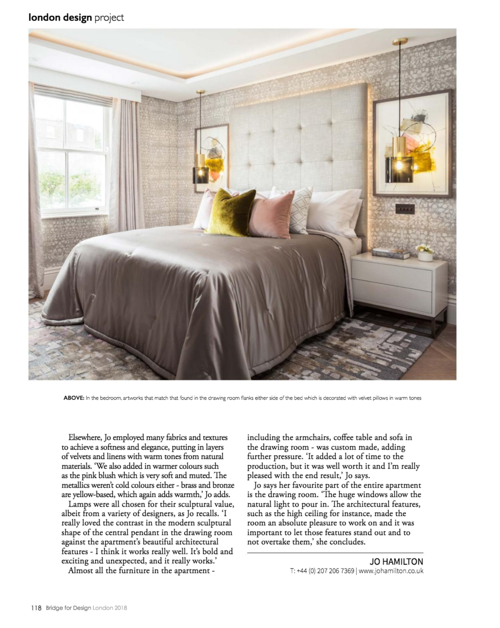 Interior designer Jo Hamilton Bridge for Design p118