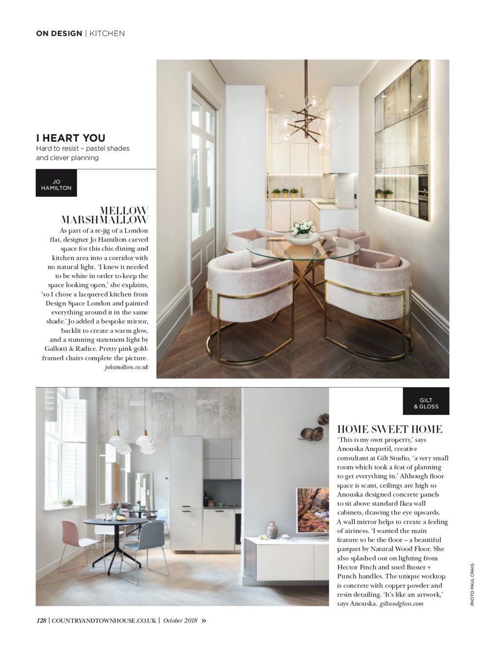 Luxury interior designer Jo Hamilton feature Country and Town House magazine October 2018