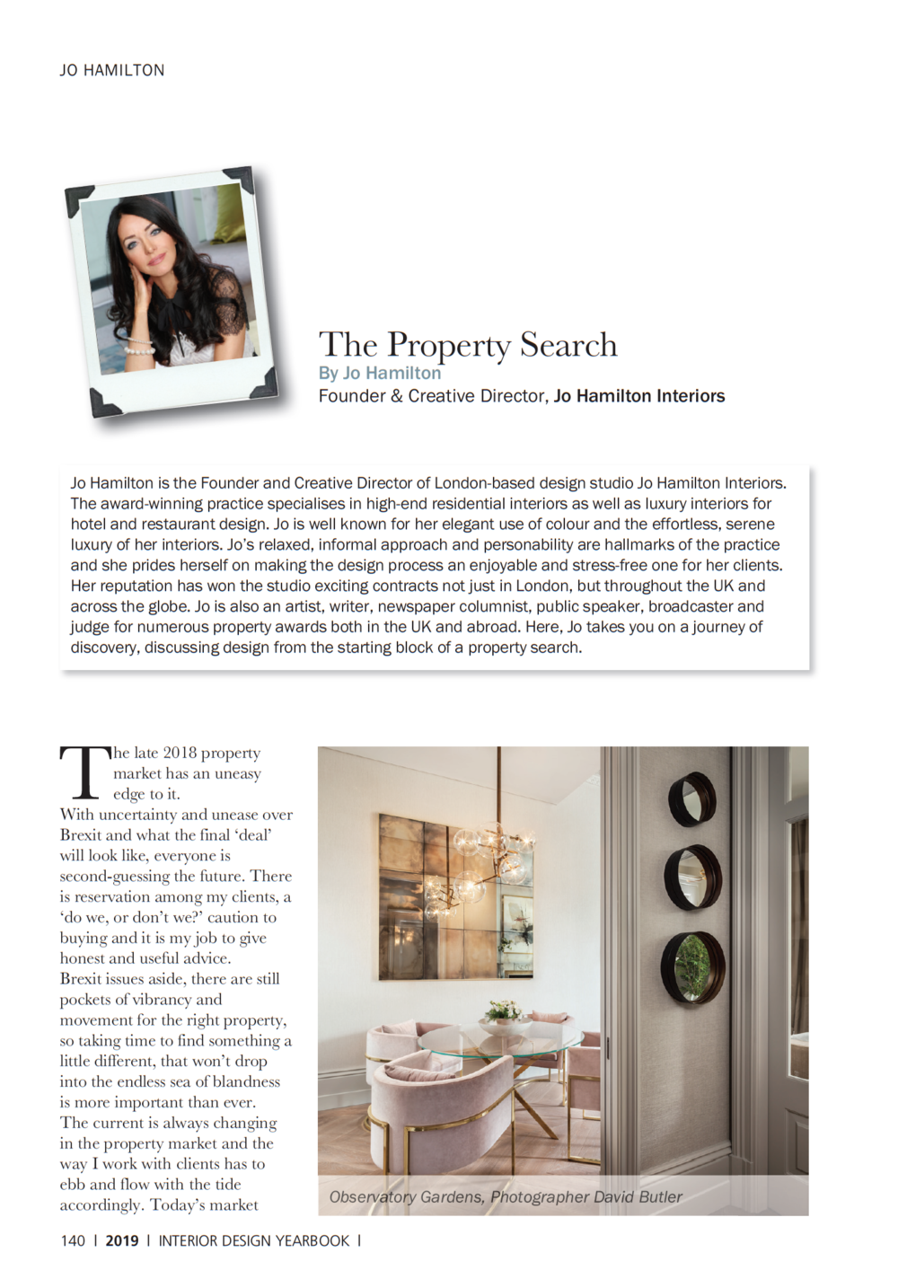 Interior Design Yearbook 2019 featuring luxury interior designer Jo Hamilton - consumer edition page 140
