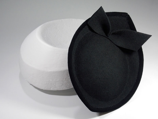 Anna Dominoes  Vauxhall  hat of black felt bound in velvet ribbon, formed on a hand made block