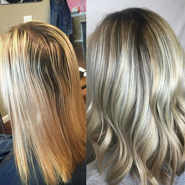 Sometimes the before and after even surprises me. #stlhairstylist #stlhair #beforeandafter #blondehair #balayage #colorcorrection