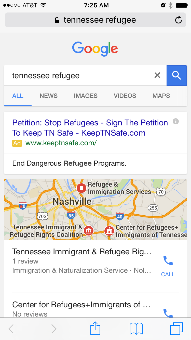 "Senator sponsor Mark Norris' petition urging the Attorney General to act on SJR0467 in order to ""End Dangerous Refugee Resettlement"" is a advertised on Google."