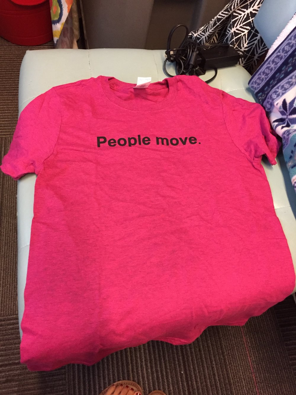 "Pink ""People Move"" t-shirt by Gildan"