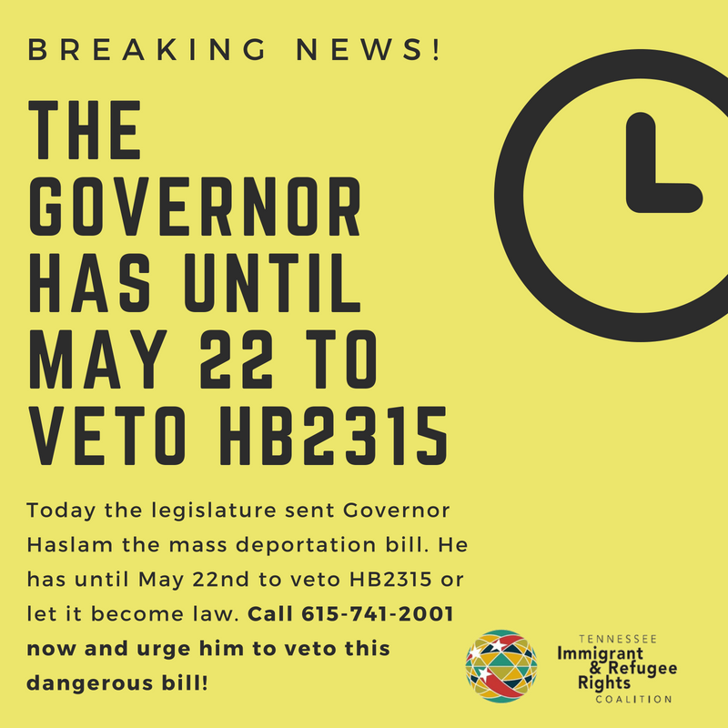 Join us in sending a strong message to Governor Haslam and urge him to veto this dangerous bill.