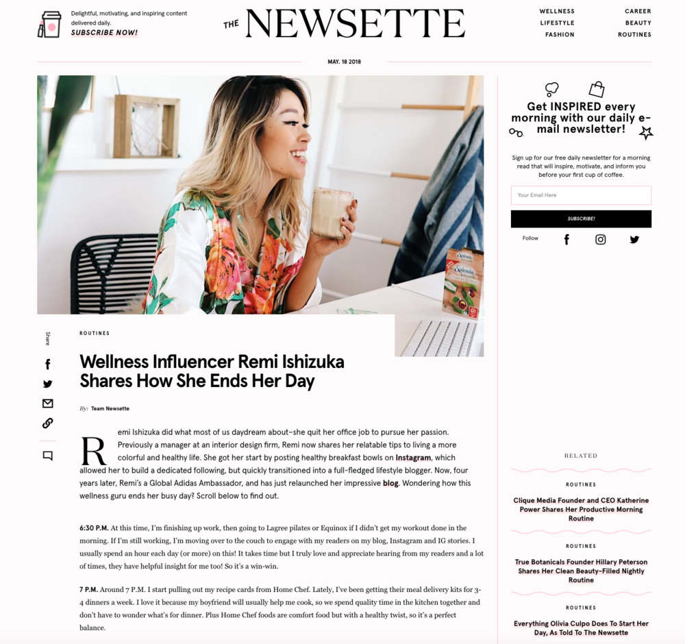 """WELLNESS INFLUENCER REMI ISHIZUKA SHARES HOW SHE ENDS HER DAY""    THENEWSETTE.COM"