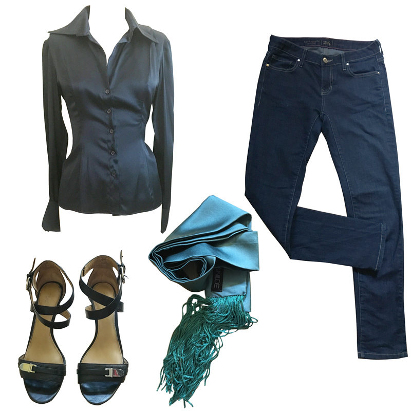Our recommendations for Tere Stouffer. Primrose & Wilde Classic Silk Shirt and Skinny Scarf teamed up with a pair of dark jeans and designer sandals.