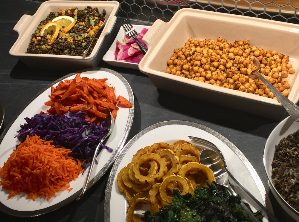 Puy French lentils, spiced chickpeas, delicata squash and carrots & red cabbage.