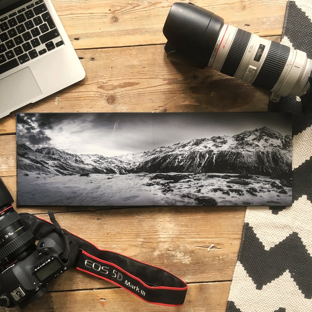 Obergurgl - Austria. The lay flat binding of the photobook allows seamless panoramic printing across double pages.