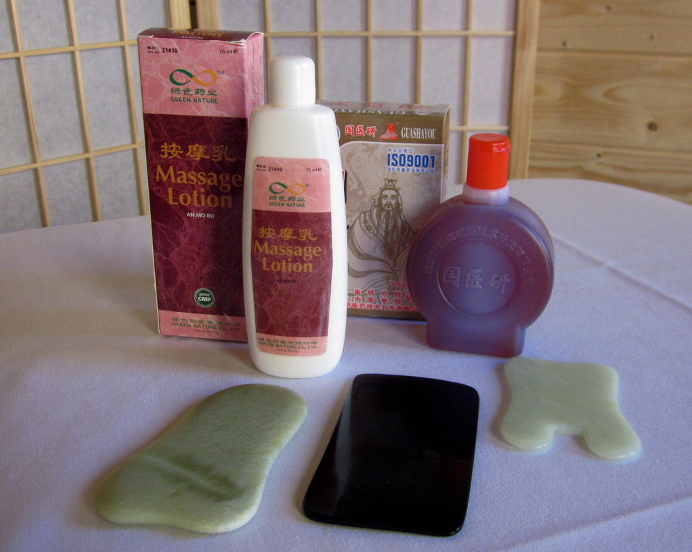 Gua Sha tools are typically made of horn or jade. Herbal balms and linaments are often used to warm the area for treatment.