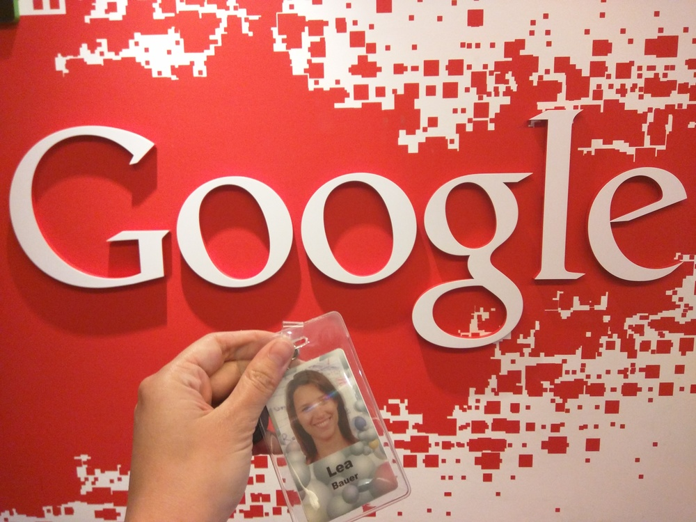 Handing in my badge on my last day at Google
