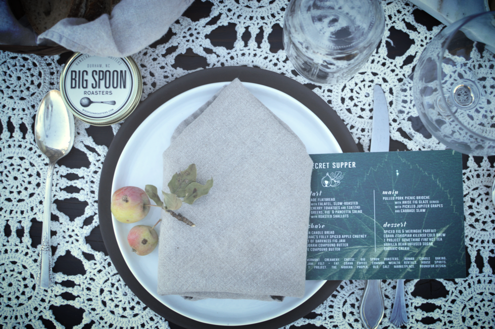 How adorable are these place settings? Complete with crab apples picked from the tree right on the property