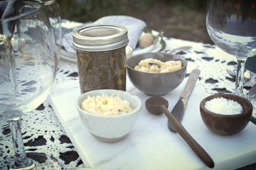 Amazingly delicious apple chutney + compound butters spread over artisan breads
