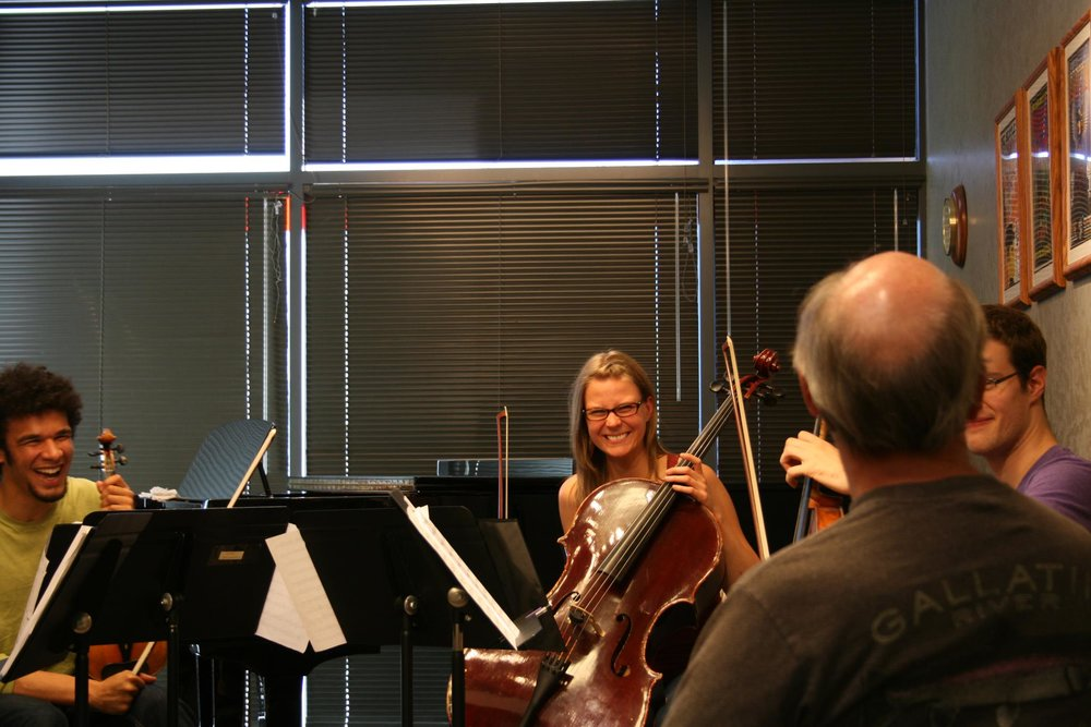 Me and the Ozaki cello in a masterclass with Michael Reynolds of the Muir String Quartet