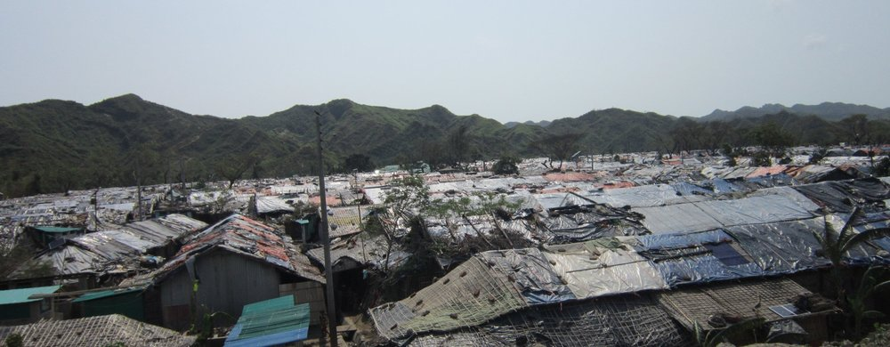 Rohingya camp before the cyclone struck. The patchwork-tarp roofs were no match for gale-force winds.
