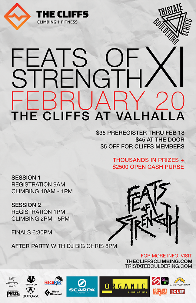 THE CLIFFS AT VALHALLA: FEATS OF STRENGTH XI FEBRUARY 20TH 2016