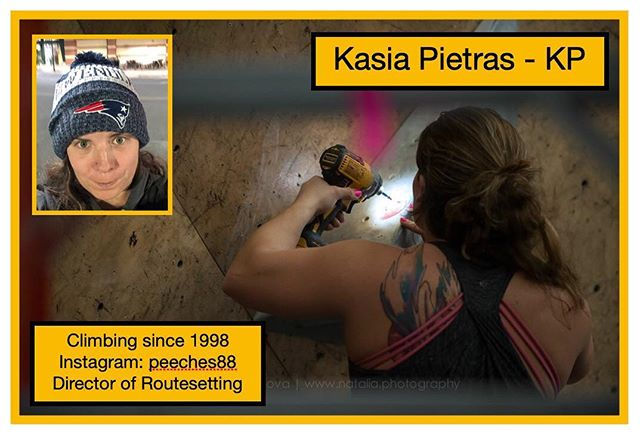 Kasia Pietras, @peeches88 is from the dirty south but now resigns in New England as a Director of Routesetting with a @usaclimbing Level 4 certification. Welcome Kasia to #tristatebouldering #womenroutesetters #thefutureisfemale