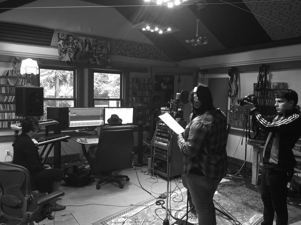 Joy Oladokun recording vocals for Brady Wayne Sessions