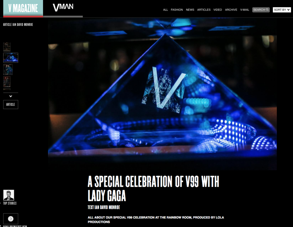 Hologram for V magazine's party for #V99 featuring Lady Gaga.