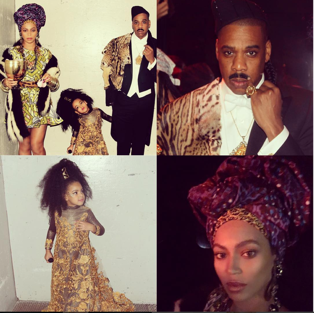 "Beyoncé as Queen Aoleon, Jay Z as Prince Akeem, and Blue Ivy as Imani Izzi from the 1988 classic ""Coming to America . """