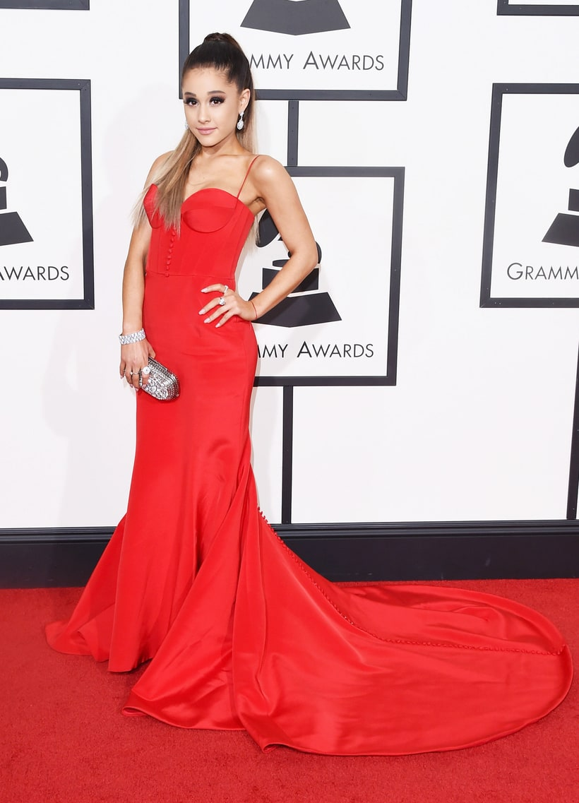 Ariana Grande  Dress: Romona Keveza  Clutch: Jimmy Choo