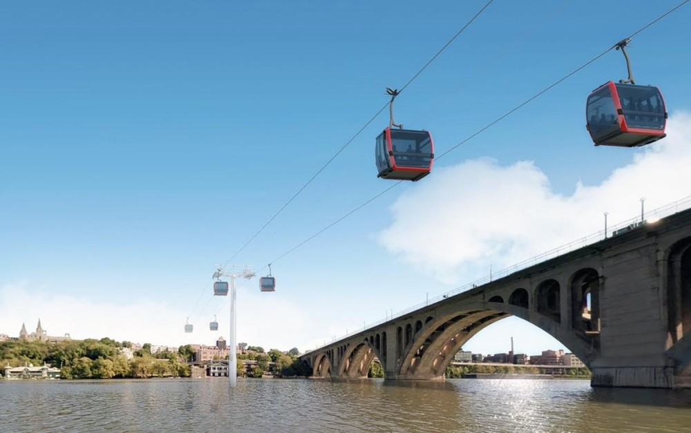 An architectural rendering of a gondola between Georgetown in Washington, D.C., and Rosslyn in northern Virginia. LEITNER-POMA