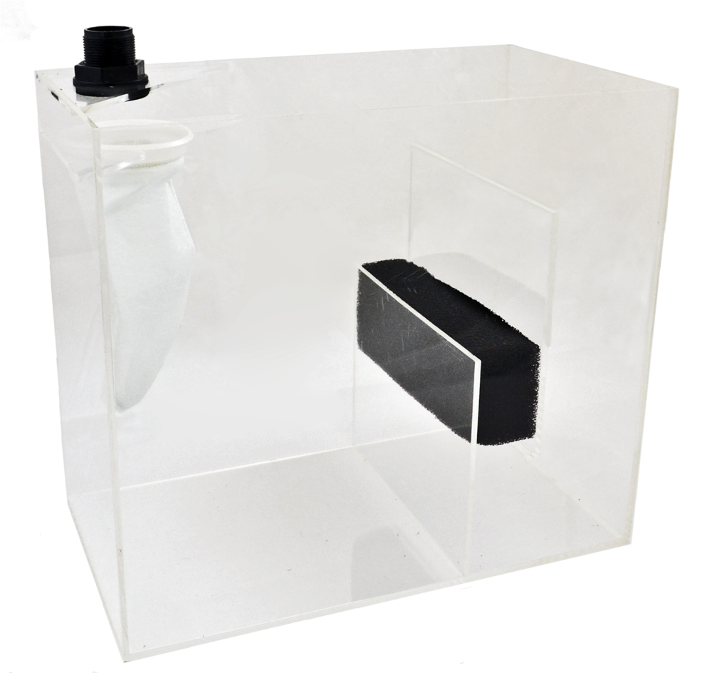 "Model 75 Reef Sump   SKU#: AM87400  UPC#: 7-49729-87400-3  Product Size:18x10x16""  Capacity: Up to 75 Gallons  Included:  3ft. flex hose Bulkhead fitting 7x17""200-Micron bag Biological sponge"