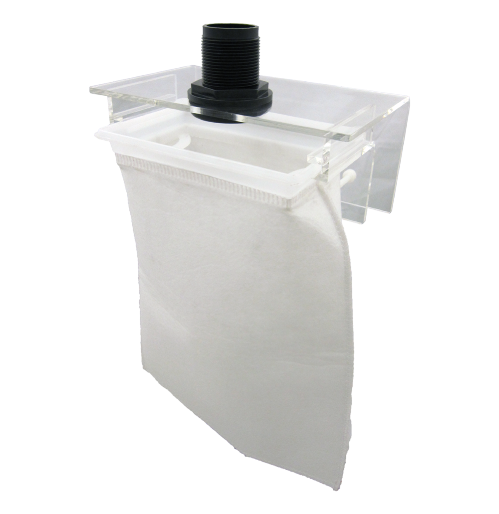 "Large Micron Bag Holder   SKU#: AM87802  UPC#: 7-49729-87802-5  Package Dimension: 10.25""x4.5""x6.5""  Product Dimension: 8.5""x5.5""x4""  Minimum Clearance: 1-3/8""  Capacity: Up to 100 Gallon  Bulkhead Size: 1-Inch  Master Carton Dimension: 21x15x14""  Master pack: 12pcs."