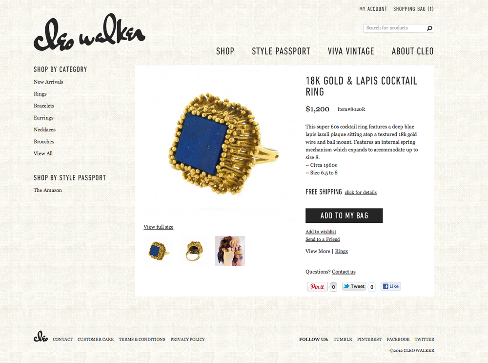 E-commerce website to showcase the pieces for sale, as well as branded content to inform and appeal to site visitors.