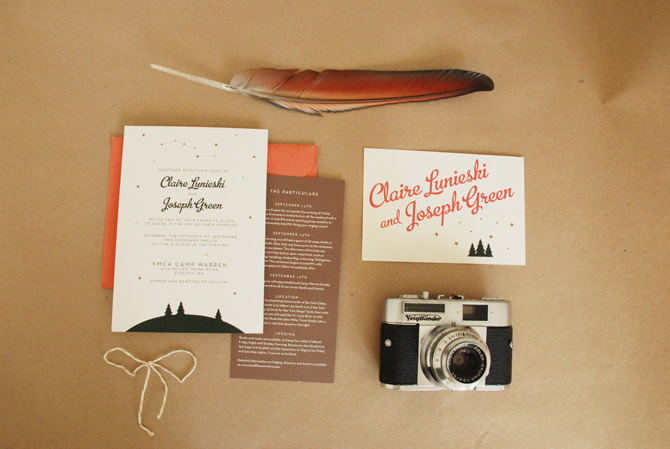 Invitation & insert designs for a camp-themed wedding.
